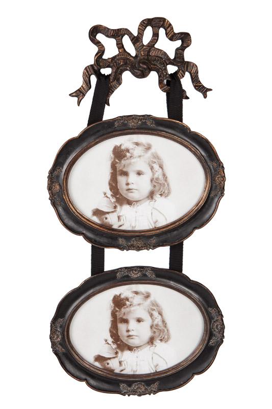 Clayre & Eef ovalen tweeluik met strik bovenaan CE-2066