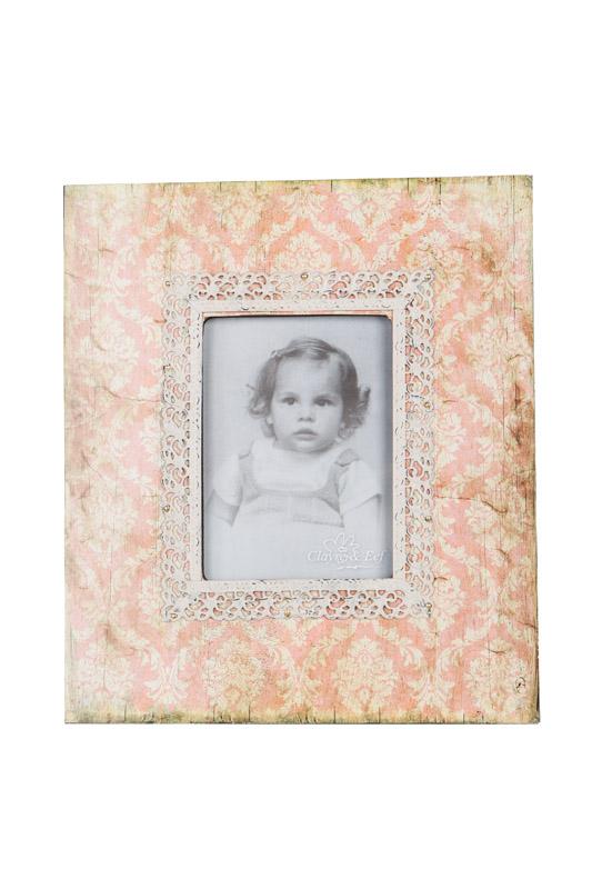 Clayre & Eef Fotolijst Retro in kunststof; look verweert behangpapier CE-2291