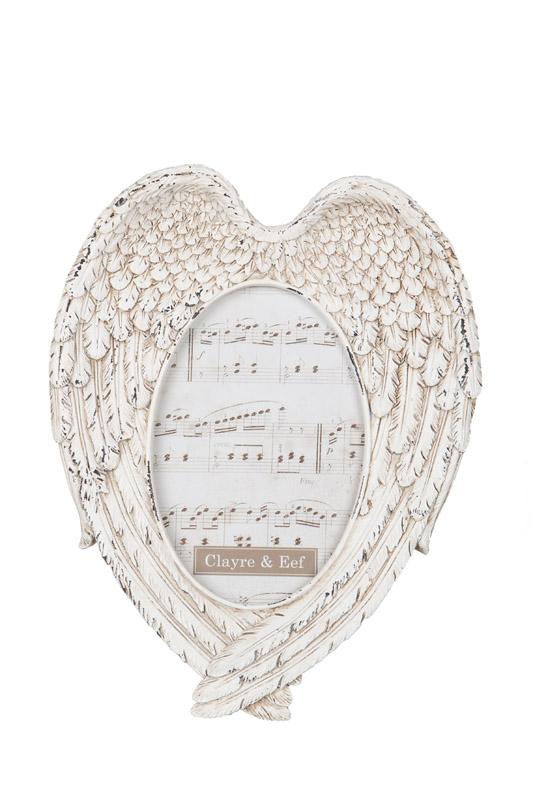 Clayre & Eef  fotolijst in kunststof met een unieke vorm van engelenvleugels CE-2F0283